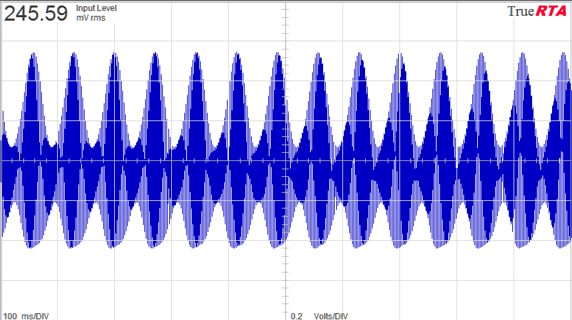 400Hz sine modulated by a 14Hz sine