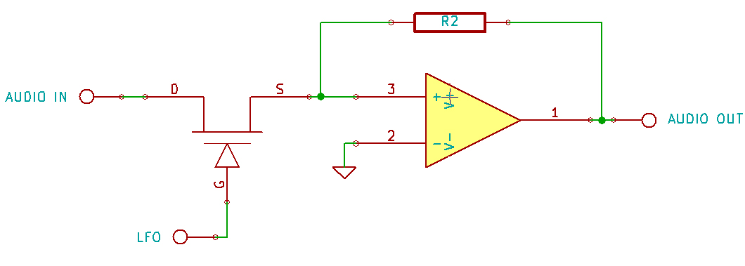 FET transistor in an inverting AOP