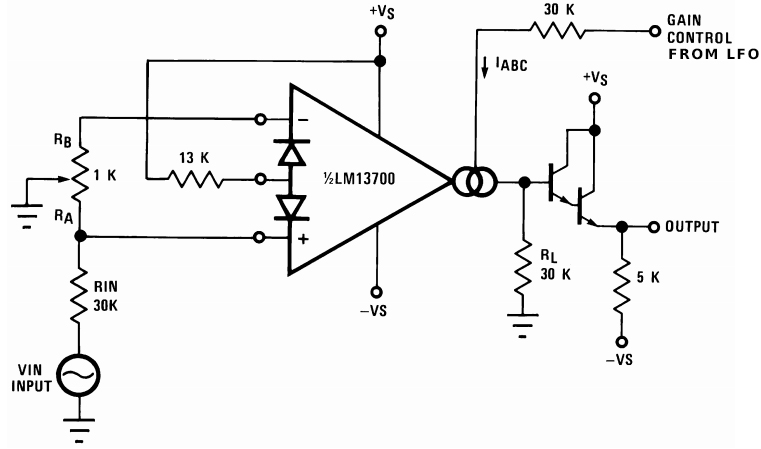 Typical LM13700 use for automatic volume control