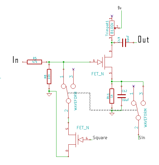 Final automatic volume control design with square and sine waveform controls