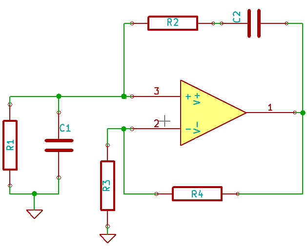 Base schematic of a wien bridge oscillator.